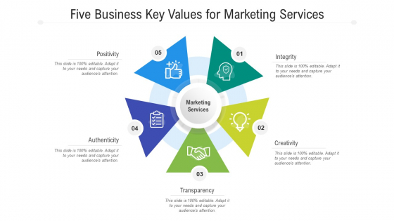 Five Business Key Values For Marketing Services Ppt PowerPoint Presentation Gallery Layout PDF