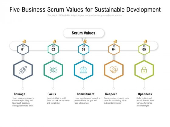 Five Business Scrum Values For Sustainable Development Ppt PowerPoint Presentation Ideas Master Slide PDF