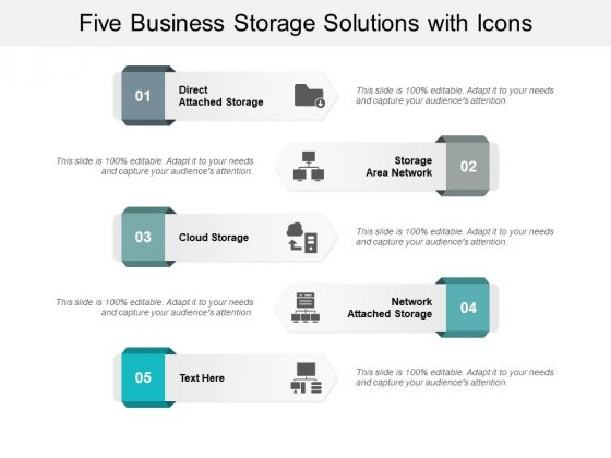 Five Business Storage Solutions With Icons Ppt Powerpoint Presentation Summary Examples