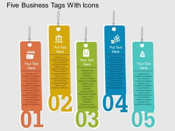 Five Business Tags With Icons Powerpoint Template