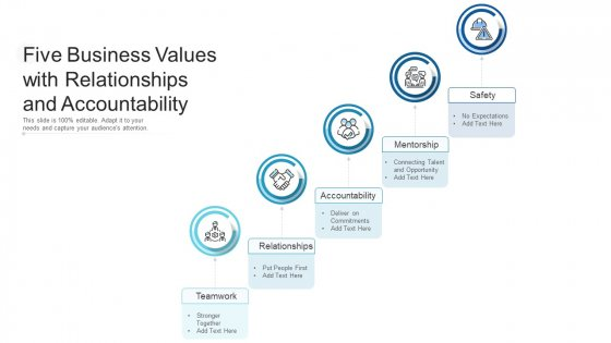 Five Business Values With Relationships And Accountability Ppt PowerPoint Presentation File Rules PDF