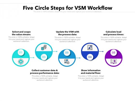 Five Circle Steps For VSM Workflow Ppt PowerPoint Presentation File Format PDF