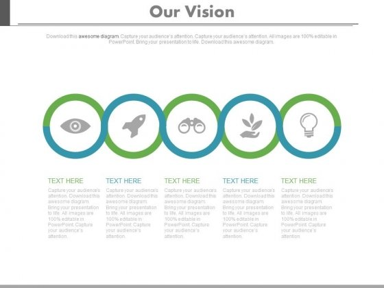 Five Circles Sequential Chart With Icons Powerpoint Slides