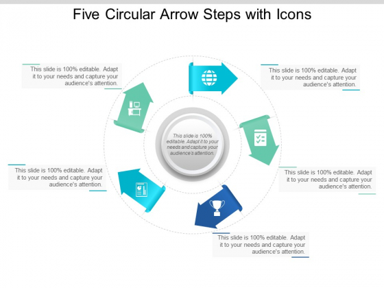 Five Circular Arrow Steps With Icons Ppt Powerpoint Presentation Portfolio Gridlines