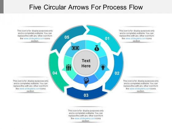 Five Circular Arrows For Process Flow Ppt PowerPoint Presentation Outline Themes