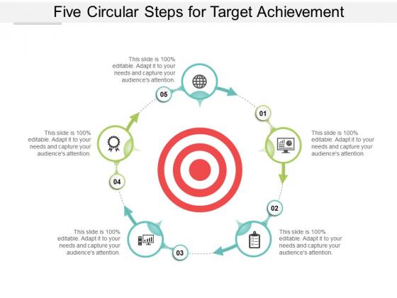 Five Circular Steps For Target Achievement Ppt Powerpoint Presentation Outline Ideas