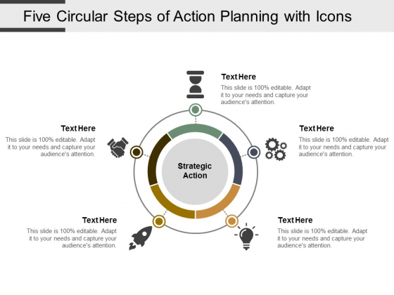 Five Circular Steps Of Action Planning With Icons Ppt PowerPoint Presentation Visual Aids Styles