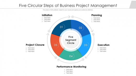 Five Circular Steps Of Business Project Management Ppt Outline Brochure PDF