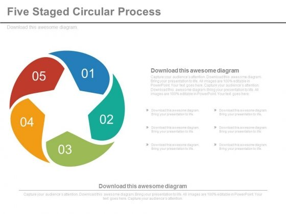 Five Circular Steps Process Flow Diagram Powerpoint Slides