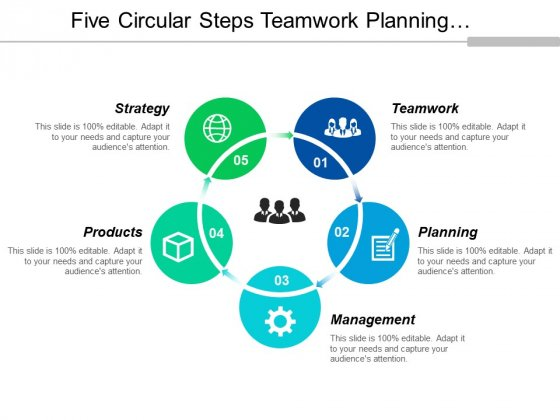 Five Circular Steps Teamwork Planning And Management Ppt PowerPoint Presentation Infographics Layout Ideas