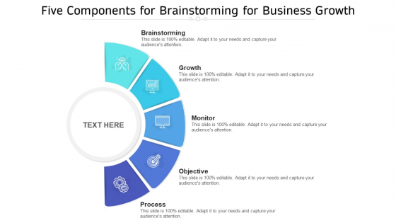 Five Components For Brainstorming For Business Growth Ppt PowerPoint Presentation File Template PDF
