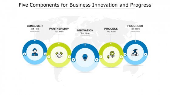 Five Components For Business Innovation And Progress Ppt PowerPoint Presentation File Master Slide PDF