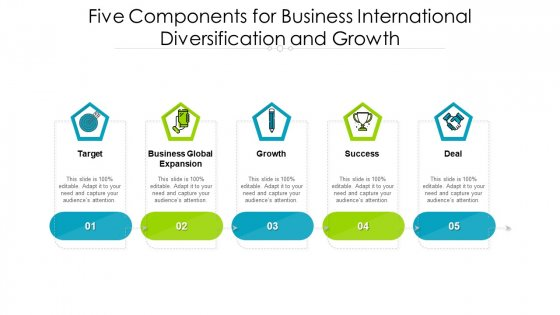 Five Components For Business International Diversification And Growth Ppt PowerPoint Presentation Gallery Background PDF