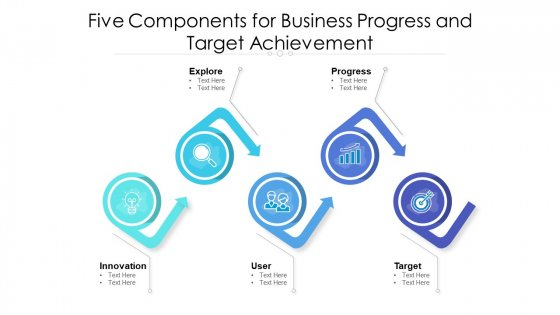 Five Components For Business Progress And Target Achievement Ppt PowerPoint Presentation Icon Slides PDF
