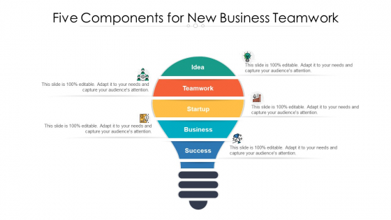 Five Components For New Business Teamwork Ppt PowerPoint Presentation Icon Deck PDF