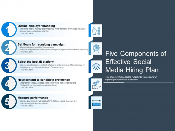 Five Components Of Effective Social Media Hiring Plan Ppt PowerPoint Presentation Infographic Template Visuals