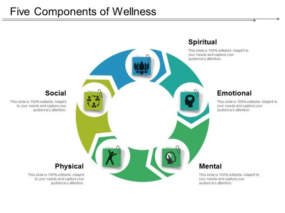 Five Components Of Wellness Ppt PowerPoint Presentation Styles Slide Portrait