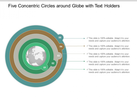 Five Concentric Circles Around Globe With Text Holders Ppt Powerpoint Presentation Ideas Graphics Tutorials