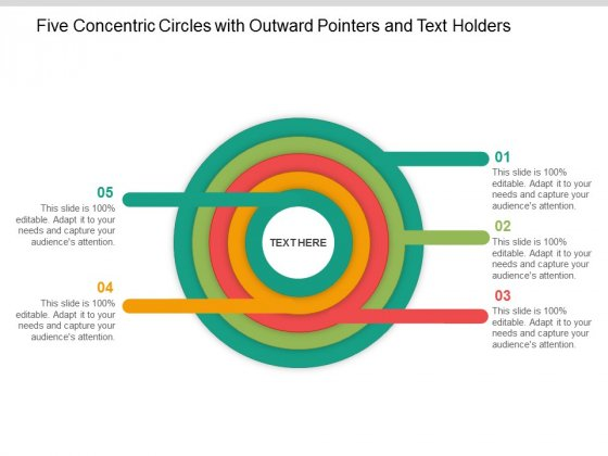 Five Concentric Circles With Outward Pointers And Text Holders Ppt Powerpoint Presentation Ideas Picture