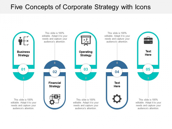 Five Concepts Of Corporate Strategy With Icons Ppt Powerpoint Presentation Professional Styles