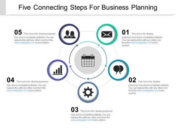 Five Connecting Steps For Business Planning Ppt PowerPoint Presentation Outline Inspiration