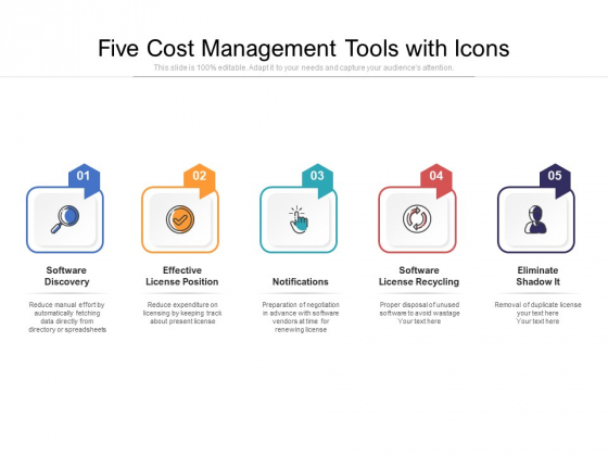 Five Cost Management Tools With Icons Ppt PowerPoint Presentation File Ideas PDF