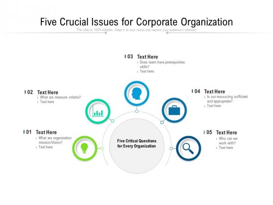 Five Crucial Issues For Corporate Organization Ppt PowerPoint Presentation File Layout Ideas PDF