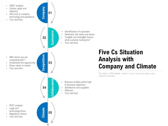 Five Cs Situation Analysis With Company And Climate Ppt PowerPoint Presentation Styles Samples PDF