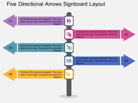 Five Directional Arrows Signboard Layout Powerpoint Template