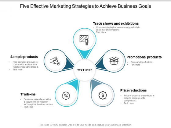 Five Effective Marketing Strategies To Achieve Business Goals Ppt PowerPoint Presentation Icon Templates