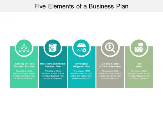 Five Elements Of A Business Plan Ppt PowerPoint Presentation Professional Icons