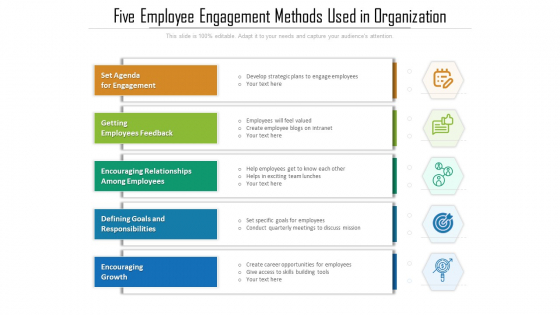 Five Employee Engagement Methods Used In Organization Ppt PowerPoint Presentation Gallery Shapes PDF