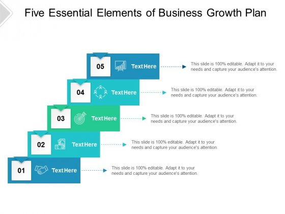 Five Essential Elements Of Business Growth Plan Ppt PowerPoint Presentation Model Backgrounds