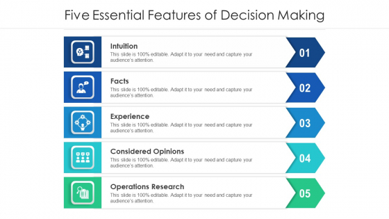 Five Essential Features Of Decision Making Ppt PowerPoint Presentation Gallery Portfolio PDF