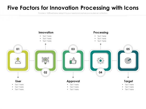 Five Factors For Innovation Processing With Icons Ppt PowerPoint Presentation Ideas Show PDF
