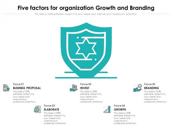 Five Factors For Organization Growth And Branding Ppt PowerPoint Presentation Gallery Deck PDF