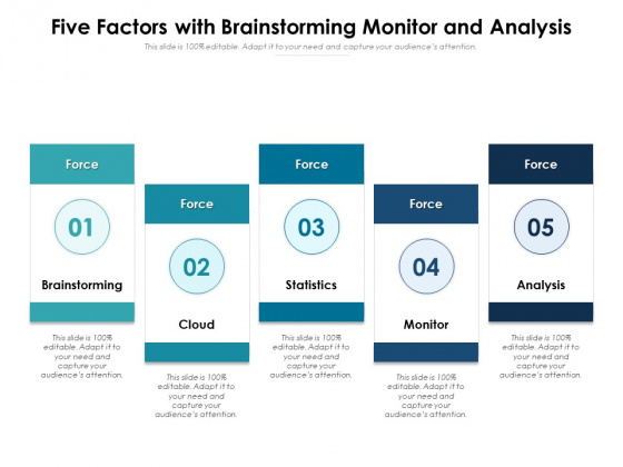 Five Factors With Brainstorming Monitor And Analysis Ppt PowerPoint Presentation Professional Slide PDF