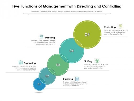 Five Functions Of Management With Directing And Controlling Ppt PowerPoint Presentation Infographic Template Gridlines PDF