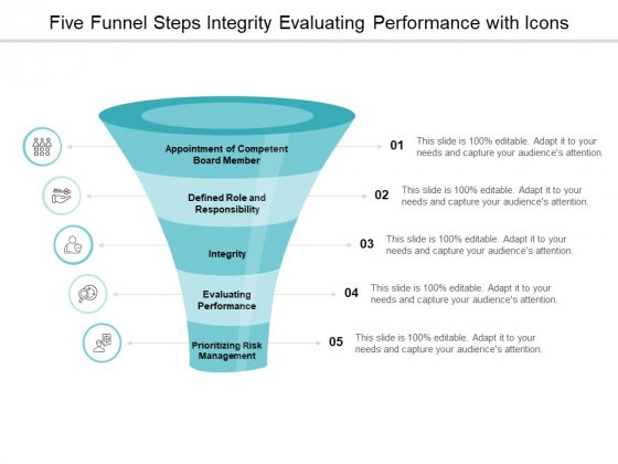 Five Funnel Steps Integrity Evaluating Performance With Icons Ppt Powerpoint Presentation Model Demonstration