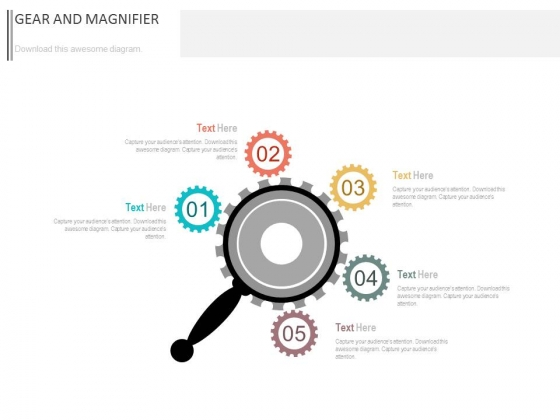 Five Gears Around Magnifier Powerpoint Slides
