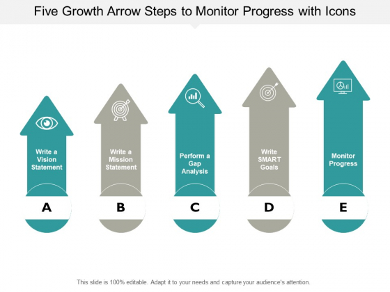 Five Growth Arrow Steps To Monitor Progress With Icons Ppt PowerPoint Presentation Layouts Diagrams