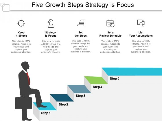 Five Growth Steps Strategy Is Focus Ppt PowerPoint Presentation Portfolio Structure