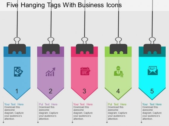 Five Hanging Tags With Business Icons Powerpoint Templates