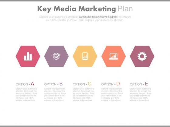 Five Hexagons For Marketing Plan Powerpoint Template