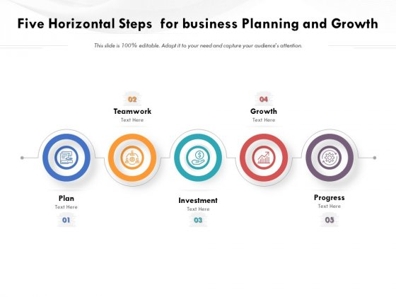 Five Horizontal Steps For Business Planning And Growth Ppt PowerPoint Presentation Gallery Elements PDF