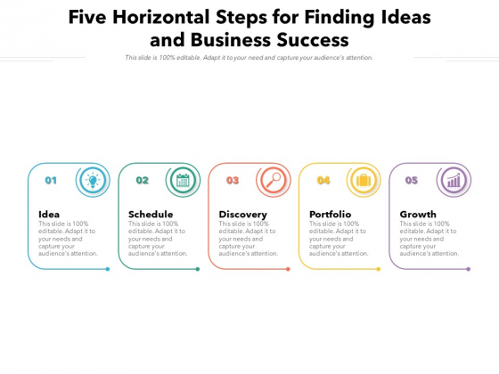 Five Horizontal Steps For Finding Ideas And Business Success Ppt PowerPoint Presentation Icon Gallery PDF