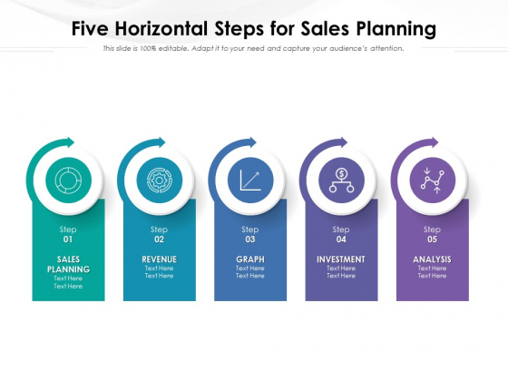 Five Horizontal Steps For Sales Planning Ppt PowerPoint Presentation File Templates PDF