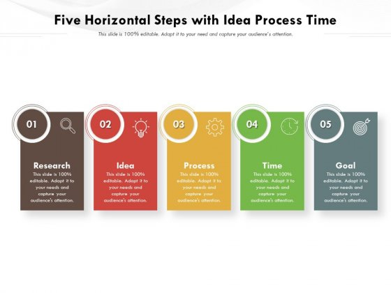 Five Horizontal Steps With Idea Process Time Ppt PowerPoint Presentation Icon Gallery PDF