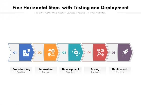 Five Horizontal Steps With Testing And Deployment Ppt PowerPoint Presentation File Portfolio PDF