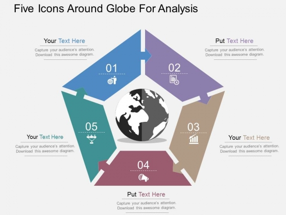 Five Icons Around Globe For Analysis Powerpoint Templates